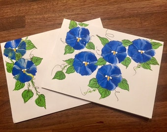Hand Painted Blue Pansy Card with matching Pinted Envelope