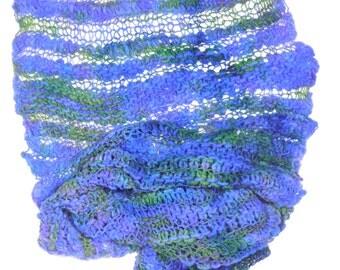 Knitted merino Scarf-Purple/Green