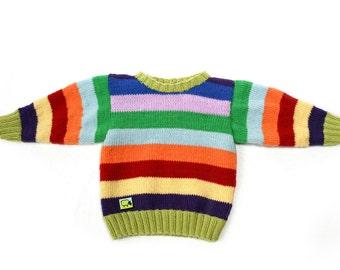 "Sweater ""Philine"" for babies 0-2 years 100% merino wool hand Knitted"