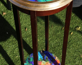 Mid-century vintage hardwood Jardiniere/Plant stand with gold leaf detailing & decoupage top