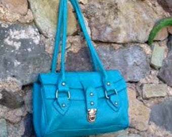 Blue Leather Small Shoulder Purse