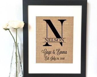 Simple Monogram Burlap Print // Personalized Wedding Gift // Custom // Wedding // Anniversary Gift // Rustic Home Decor