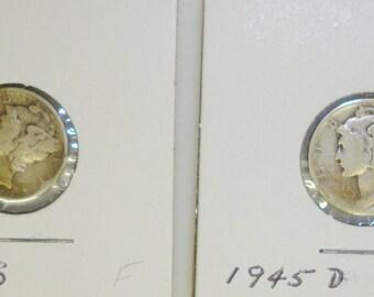 1945-S + 1945-D MERCURY DIMES ~ Fine/Very Fine