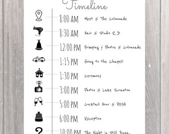 Custom Wedding Party Timeline/Day of Itinerary/Bridesmaid Schedule