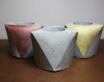 Set of 3 Concrete mini planters - Gray Cement - polygon