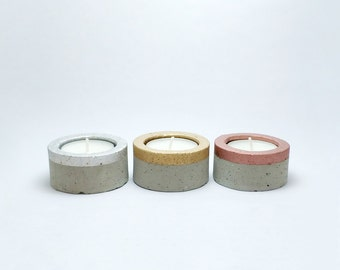 Set of 3 Concrete TeaLight Candle Holders - Gray Cement - Metallic colours