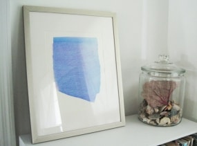 one of a kind watercolor painting, blue and pink form, original watercolor art