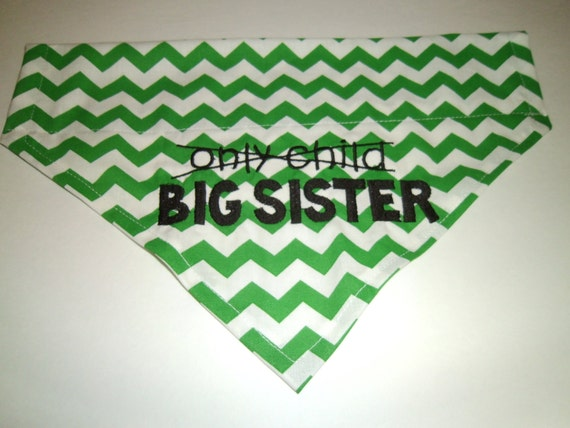 Only Child, Big Sister, Dog Bandana - Over the Collar-Summer- Chevron, Big Sister, Scarf, Pink