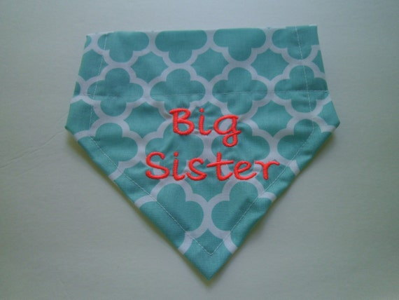 BIG Sister, Dog Bandana, Aqua,  Over the Collar, Pink, Monogram, Personalized, Embroidery,  Summer