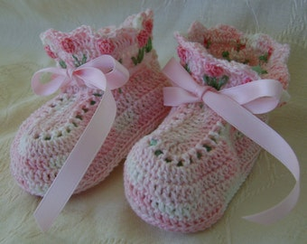 Crocheted Variegated Pink Booties With Tulips on the Cuff