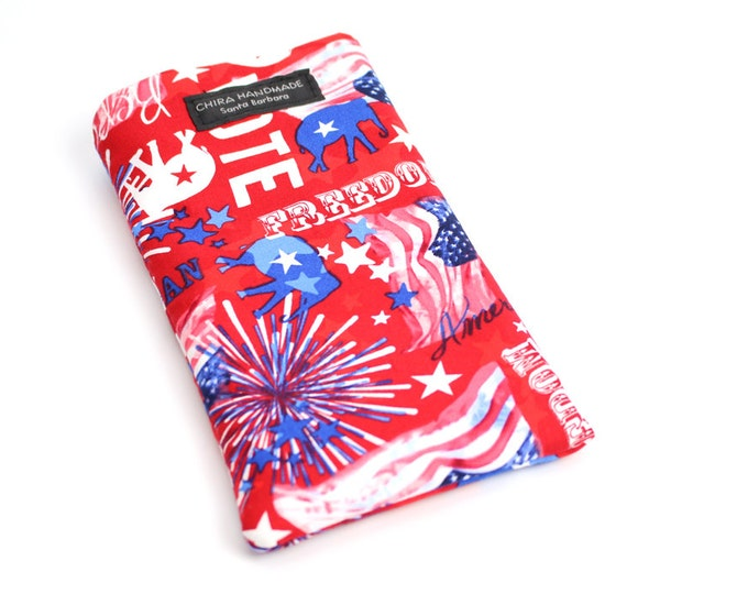 Republican Red fabric Eyeglass Reader Case. Multi-functions as a checkbook case or cell phone pouch.