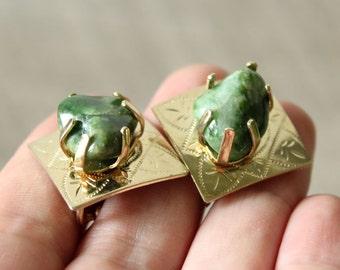 signed Coro earrings . green gemstones on gold clip on earrings . tumbled moss agate earrings . vintage Coro jewelry . mid century earrings