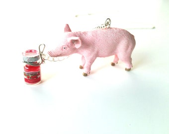 Necklace PIGGY --Pig Charm with little pot of jam, pink, animal necklace by The Sausage