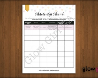 Scholarship Search - High School, College, Planner Pages - Letter, Instant Download