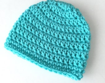 Turquoise Blue baby beanie, Girl or Boy baby hat, 0-3 Month crochet beanie, infant hat, ready to ship, baby gift