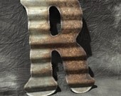 R - Antique Roofing Tin Letter by JunkFX Free Shipping