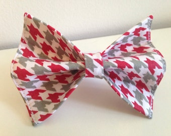 Red, Gray, White Houndstooth Alabama Dog Bow Tie in Small, Medium or Large