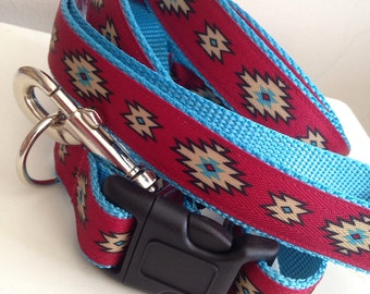 Red Aztec Leash and Collar Set