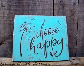 Signs, Choose Happy, Inspirational Sayings, Wood Signs,  Handpainted, Custom Signs, Home Decor, Made To Order!