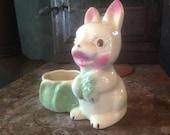 Bunny Rabbit Bonsai Planter Handpainted Desk Catch-All Vintage Cutie