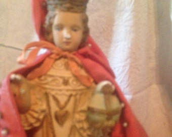 Holy Infant Jesus Of Prague Vintage Sacred Relic Faded Red Satin Raiment Chippy Chalk Ware Mid Century