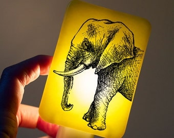 Elephant Nightlight on Lemon Yellow Fused Glass Childrens Nightlight - Gift for Baby Shower or Nature Lover - pastel blue