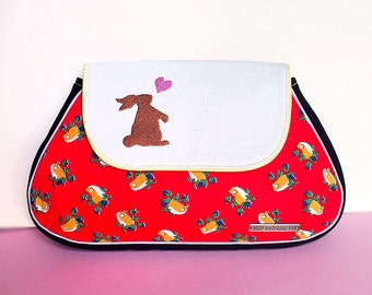 Clutch Purse - Bunny Love Clutch (Vintage Scarlet Birds)