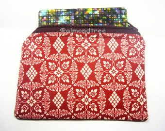 Red Flora, women wallet, credit card case, unpadded zip coin purse, id1370586, portemonnaie, business cardholder , small pouch, gift