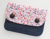 Two Pocket Wallet | Pink Floral Print Fabric Pouch with Two Pockets