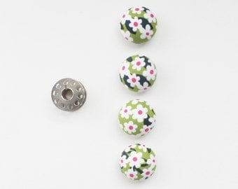 Green and White Floral Fabric Covered Half Round Buttons 7/8 Inch | Four shank back buttons with a high dome.