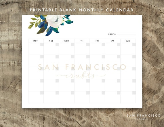 Qt Weekly Calendar : Printable blank monthly calendar by sanfranciscocrafts on etsy