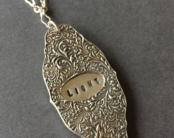 Light of Life, Secret Message Necklace, Fine Silver, Sterling Silver, erinelizabeth