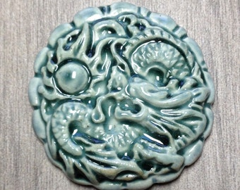 Large Dragon Ceramic Cabochon Stone in Peacock Celedon