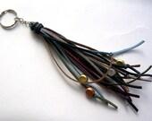 Tassel Keychain // Boho Long Fringe Tassel Key Chain //Black Navy Gold Brown Burgundy Green // Key Fob Purse Charm Boho Chic (KC10)