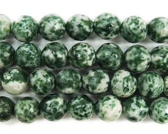 Green Spot Jasper Faceted Gemstone Beads