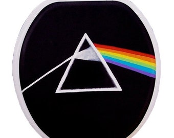 Pink Floyd Dark Side of the Moon Hand Painted Toilet Seat Rock Bathroom Wall Art Decor Gift Remodel Man Cave Rock Band