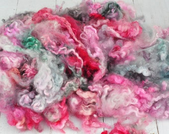 Curly BFL/English Leicester Lamb Locks - Hand Dyed - Lots of Texture - 5.8 ounces