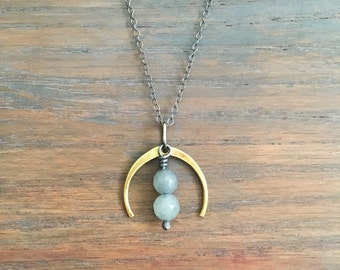 TULIP / Pendant Necklace / Brass and Sterling Silver