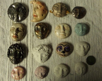 Artist SALE Make your own dolls with this set of 16 polymer cabs. Alegria white set