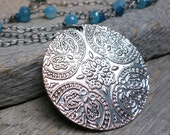 Aphrodite necklace ... sterling silver / antiqued silver mandala / aquamarine / apatite / angelite