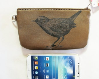 Bird Phone pouch Pencil Case Recycled Gold Leather
