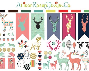So Deer! Series 01 || Deer, Deer Heads, Jumping Deer, Antlers and Hexagons || Erin Condren Planner Stickers, Happy Planner, Filofax ++