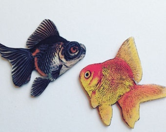 Goldfish Tack Pin Brooch Set of 2 Handcrafted in the USA