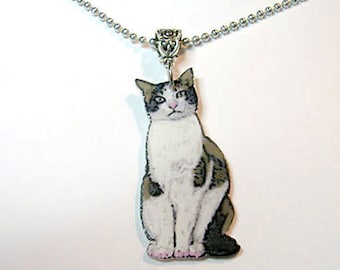 Handcrafted Plastic Black White Brown Domestic Cat Necklace Pendant