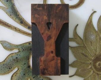 Letter Y Antique Letterpress Wood Type Printers Block