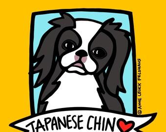 Japanese Chin Love 8x10 Art Print Anne Leuck Feldhaus