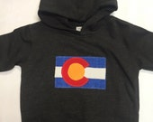 Colorado Flag Hoodie - Toddler/Kids Sweatshirt- Appliqu...