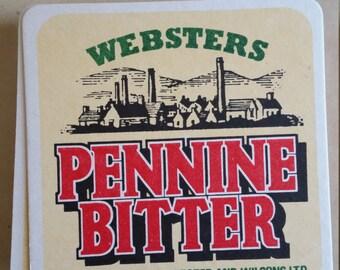 Vintage Websters Pennine Bitter Beer Cardboard Coaster,  Brew Collector Mats, UK drink mats