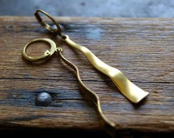 Brass Earrings - Minimalist Earrings - geometric jewelry, modern - minimal - boho chic