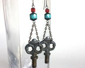 Handmade Silver Key Earrings - Ornate Vintage Keys with Aqua Blue and Candy Red Glass Cathedral Beads - Antique Silver Chains and Earwires